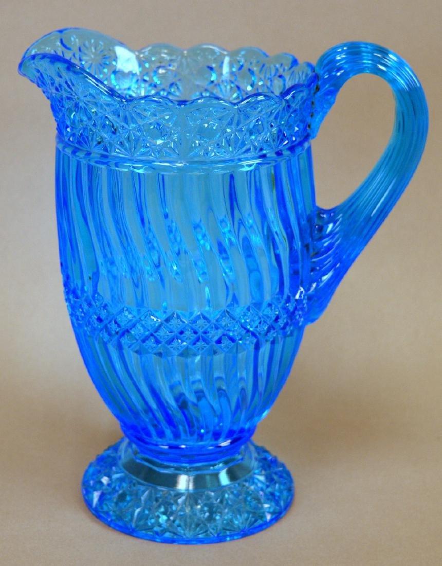 """EAPG Blue Jersey Swirl Water Pitcher 9"""""""