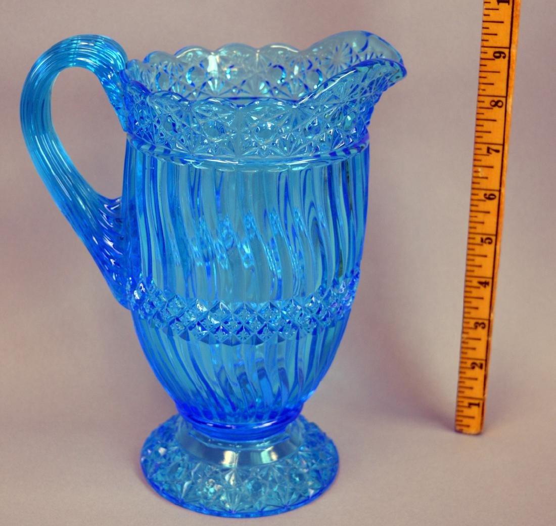 """EAPG Blue Jersey Swirl Water Pitcher 9"""" - 2"""