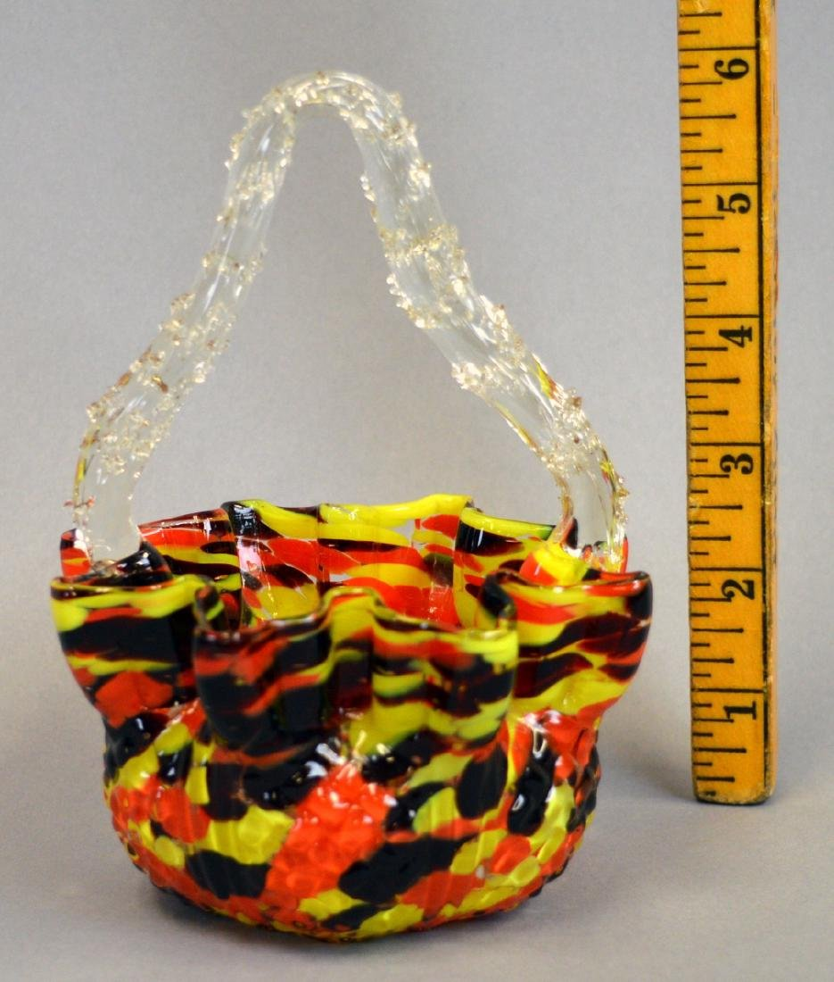 "6"" Czech Art Glass Candy Basket - 2"