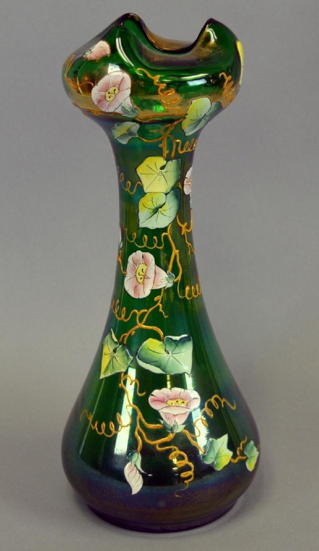 Bohemian Glass Art Nouveau Vase
