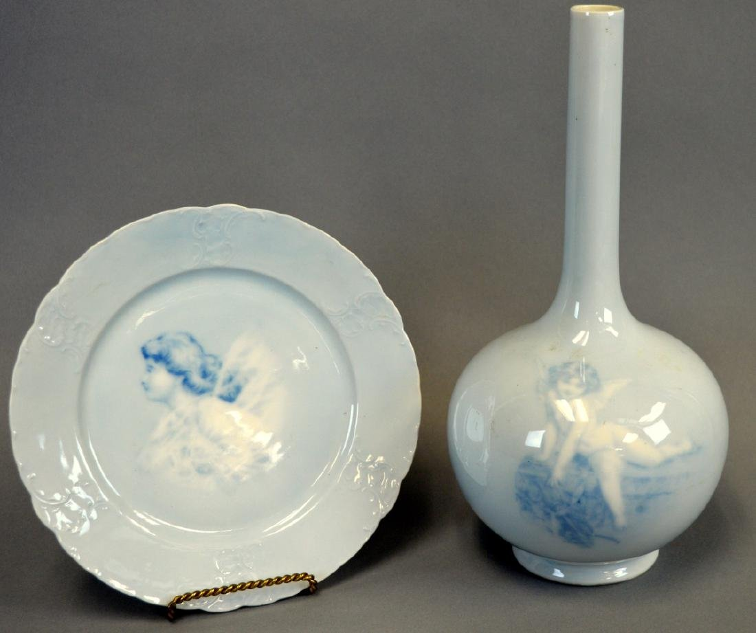 """11"""" Rosenthal """"Copenhagen"""" Vase and 8"""" Plate"""