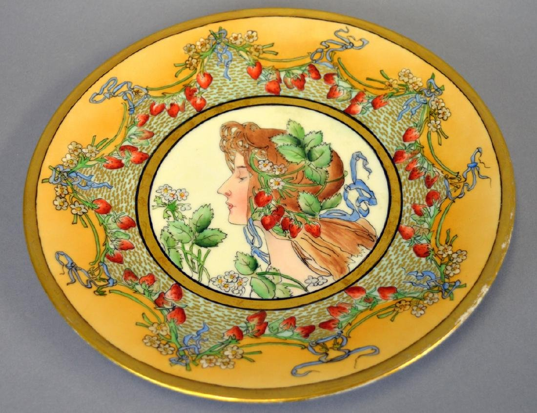 T & V Limoges Mucha Style Handpainted Plate