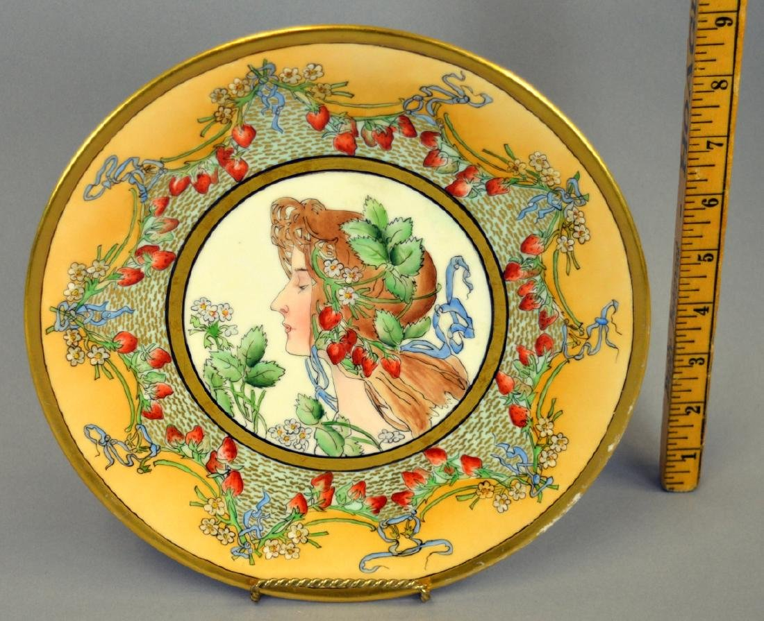 T & V Limoges Mucha Style Handpainted Plate - 2