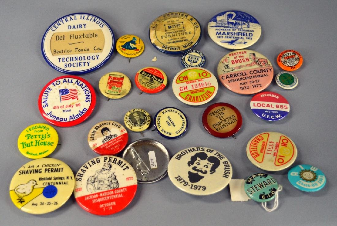 Vintage advertising buttons
