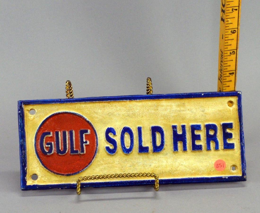 Gulf Sold here cast-iron advertising sign