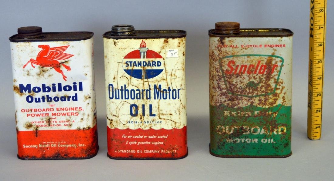 Sinclair, Mobiloil, and Standard Oil cans - rusty