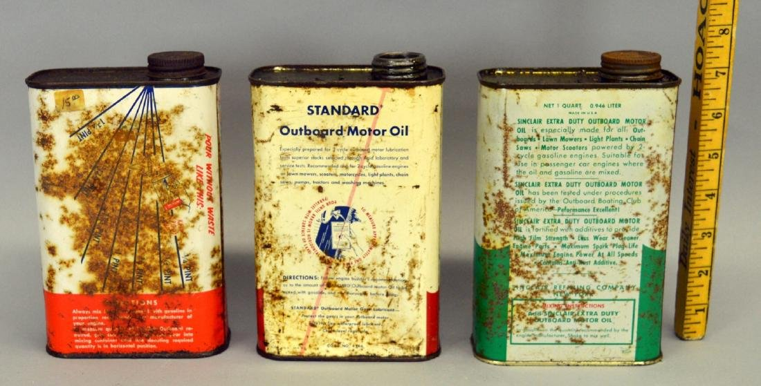 Sinclair, Mobiloil, and Standard Oil cans - rusty - 2