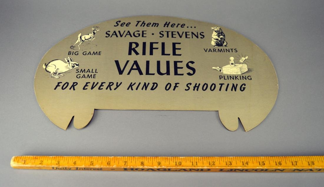 Savage Stevens Shotgun Cardboard Advertisement - 2