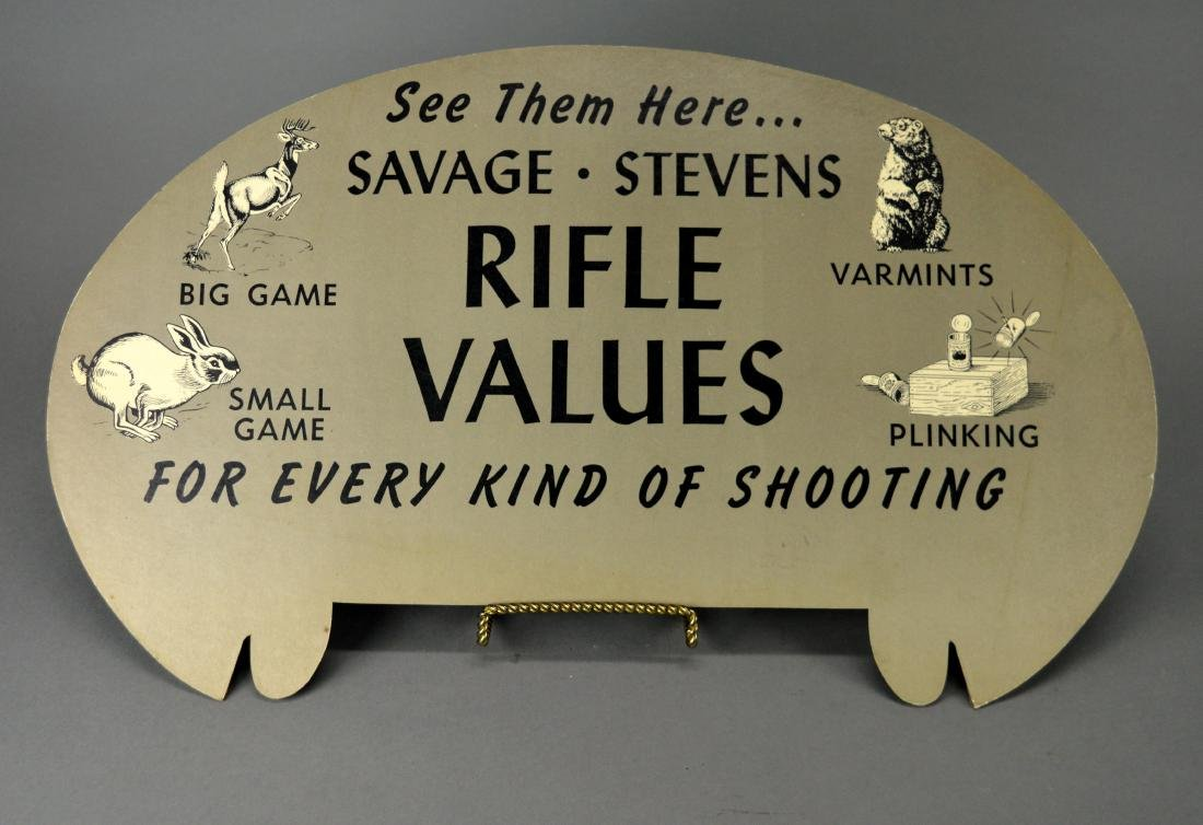 Savage Stevens Shotgun Cardboard Advertisement - 3