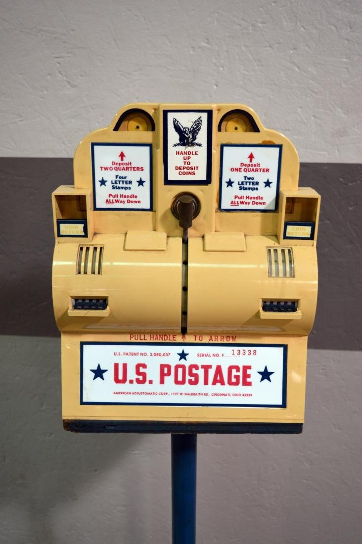 USPS postage vending machine on cast iron stand