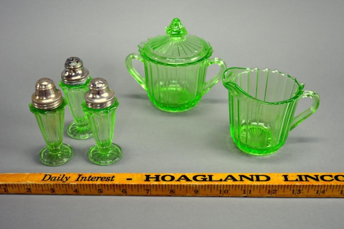 Uranium Green Depression Glass Creamer, Sugar, &