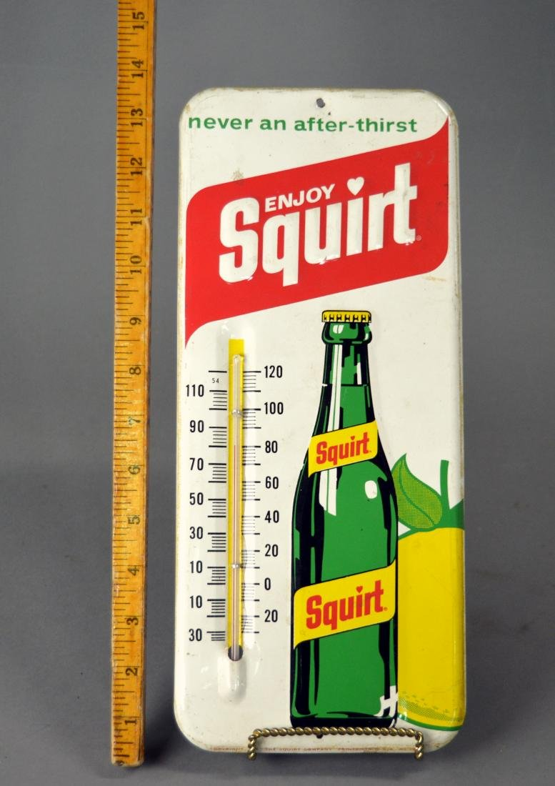 Vintage Squirt enameled metal thermometer