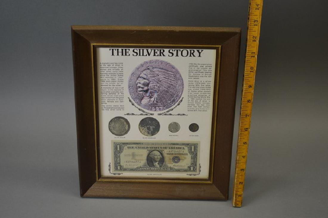"""""""The Silver Story"""" framed coin and bill collection"""