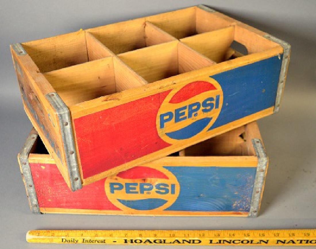 Two vintage Pepsi wood crates