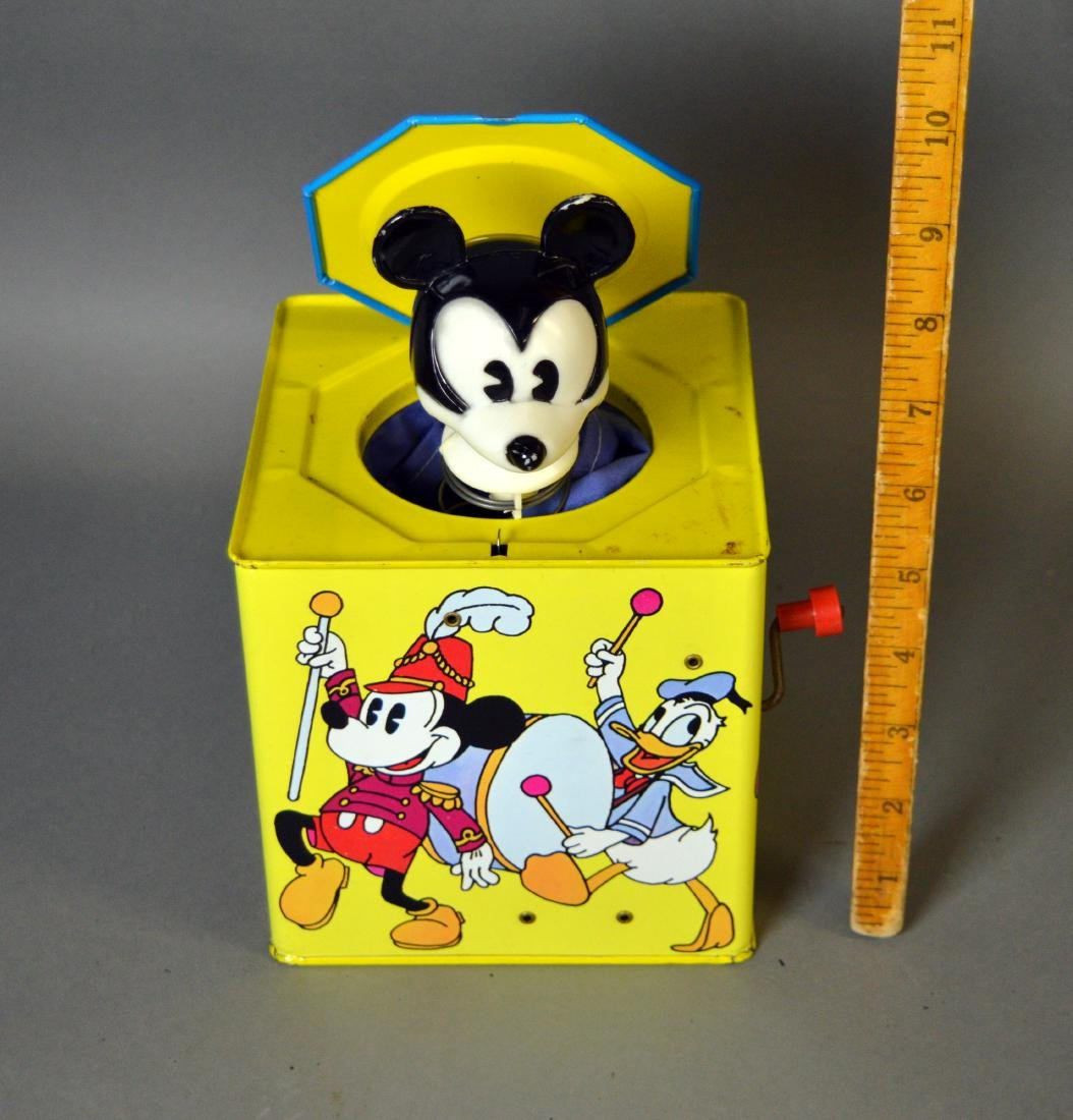 Vintage tin litho Mickey Mouse jack-in-the-box
