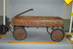 Antique Chicago Daily News wood wagon
