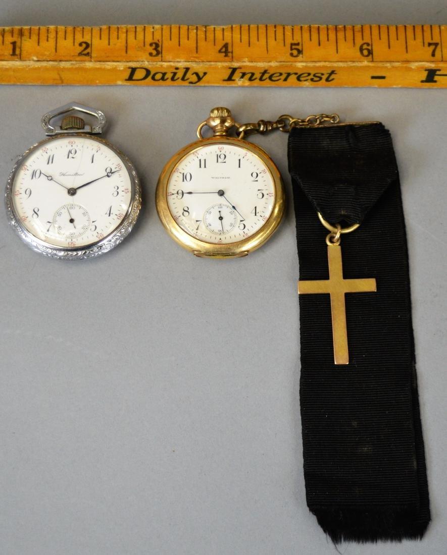 Two Antique Pocket Watches Waltham & Hamilton