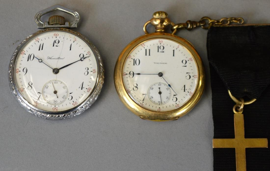 Two Antique Pocket Watches Waltham & Hamilton - 2
