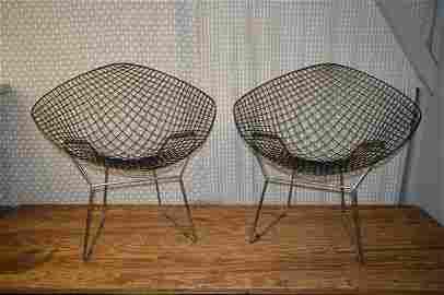 Pair Mid Century Harry Bertoia Diamond Chairs