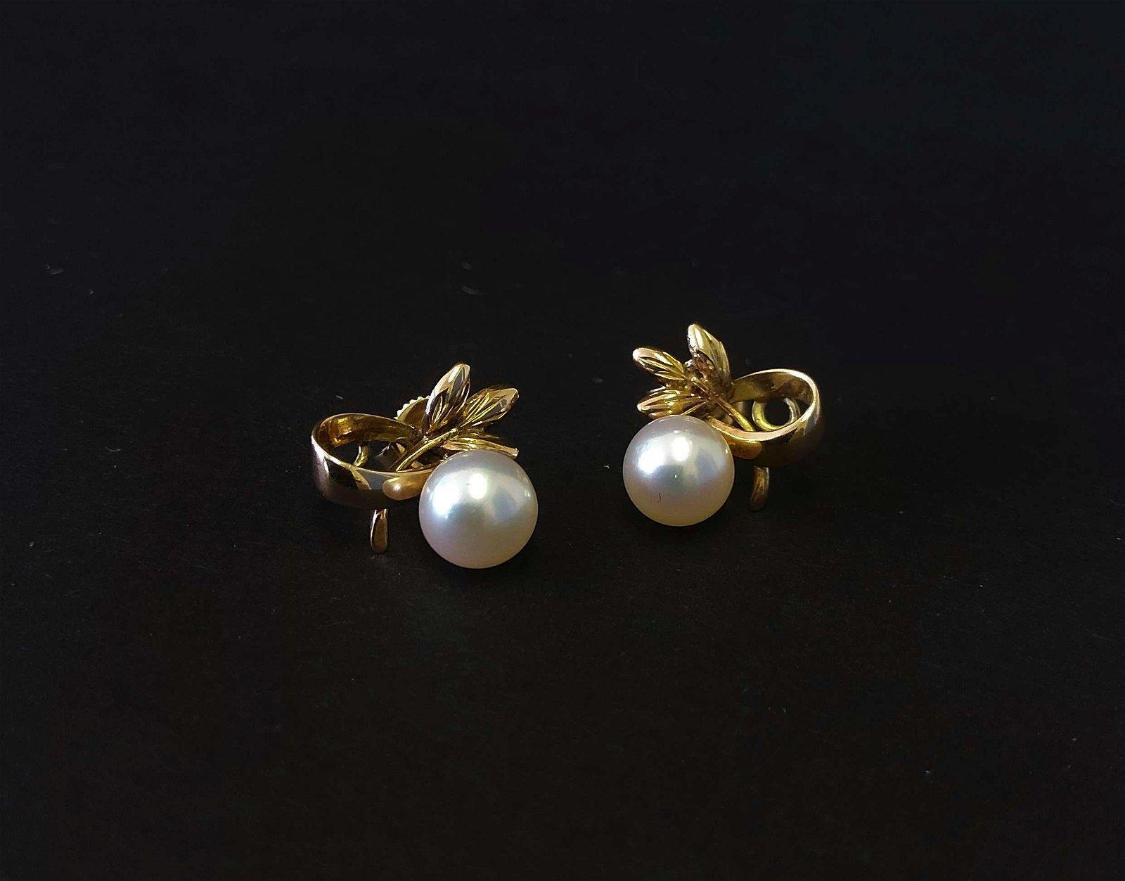 Pair of 14k Gold & Pearl Earrings