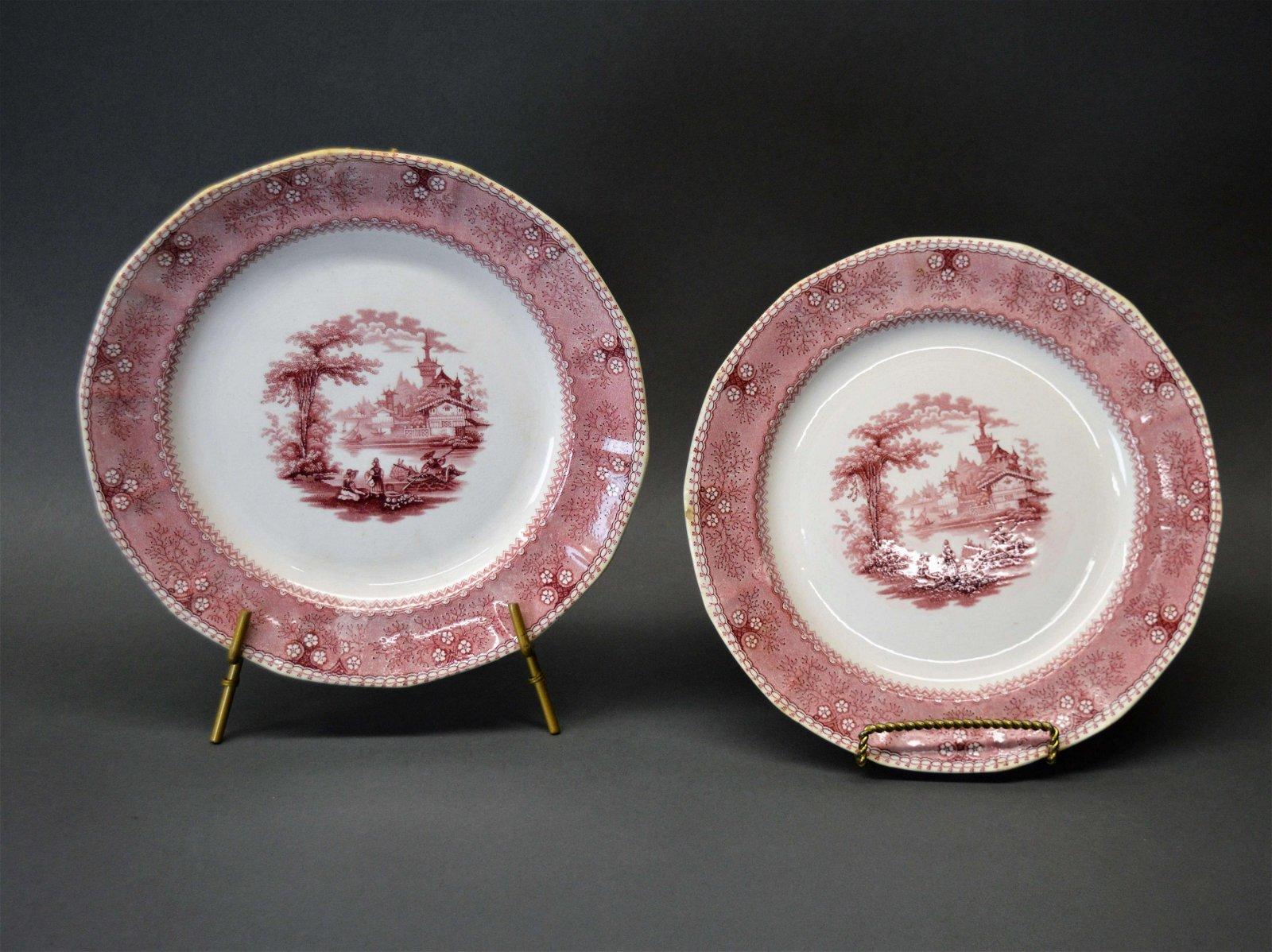 Two Romantic Staffordshire Transferware Plates