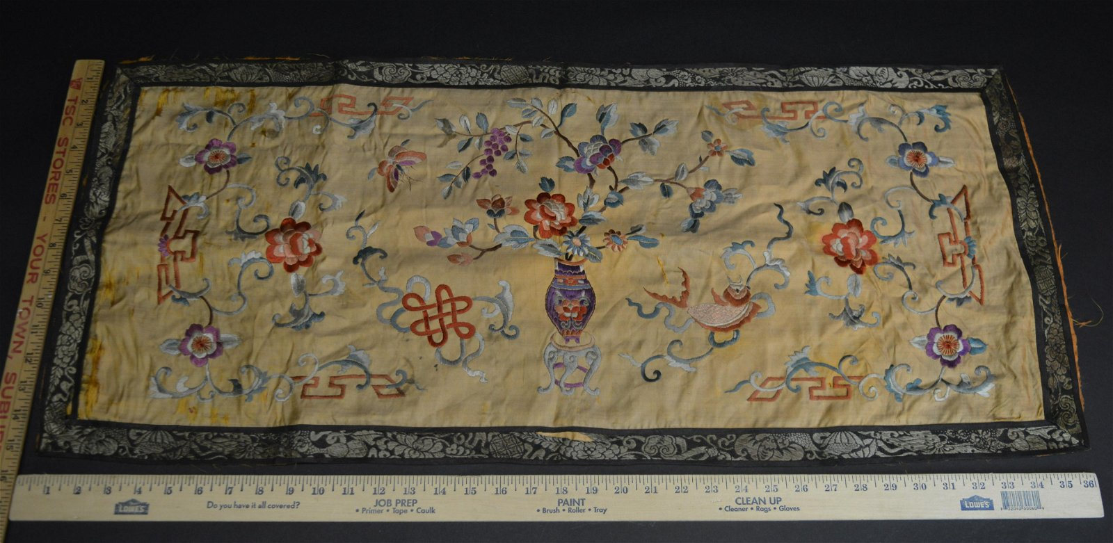 Antique Chinese Embroidered Silk Panel c.1900