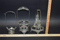 3 Victorian Silverplate Pickle Castor Frames