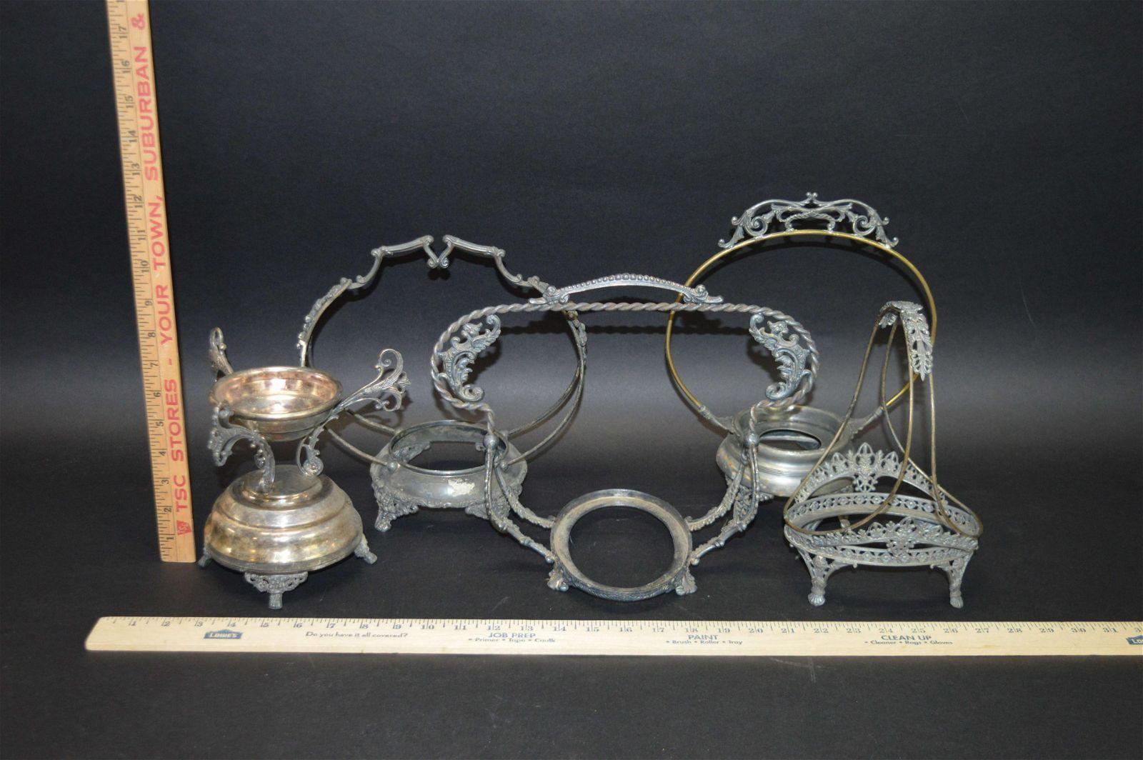 5 Victorian Silverplate Bride's Basket Frames
