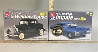 2 AMT Ertl 1:25 Model Kits '34 Ford Coupe & '67 Chevy