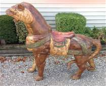 Carved Wood Polychrome Carousel Menagerie Tiger