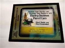 1920s Harley Davidson Advertising Magic Lantern Glass