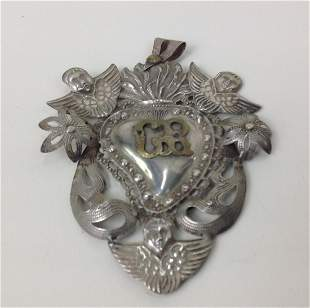 Spanish Colonial 800 Silver Sacred Heart Pendant