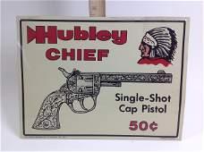 Hubley Chief Single-Shot Cap Pistol Metal Sign
