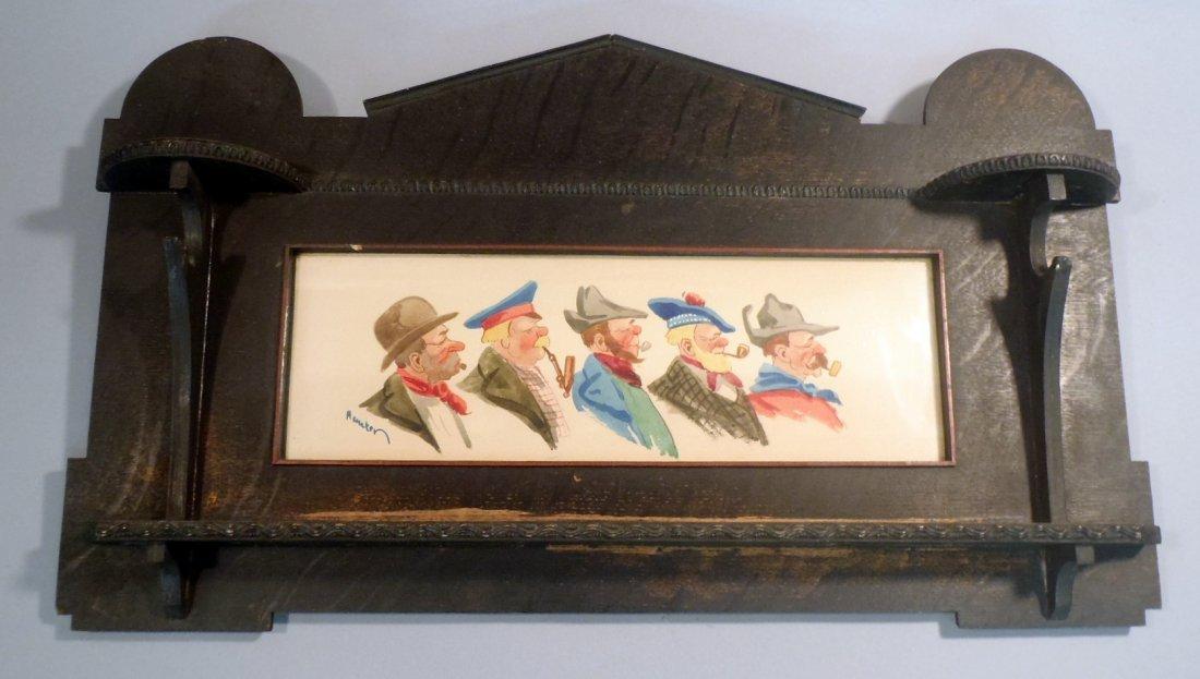 Antique wood pipe rack with European gentlemen print