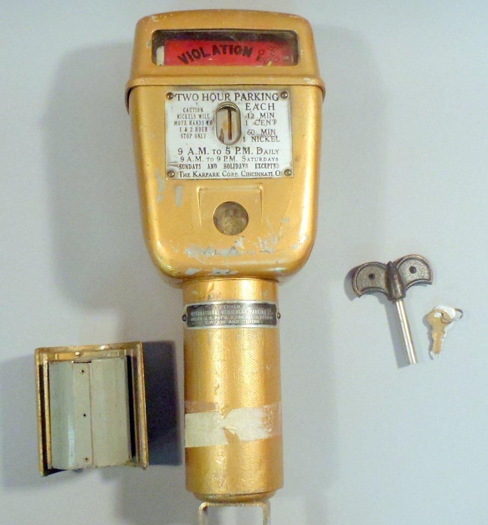 Vintage penny/nickel Karpark parking meter