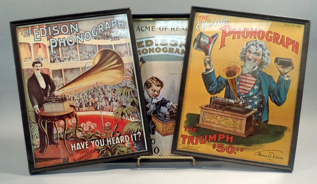 Lot of 3 Edison Phonograph framed prints