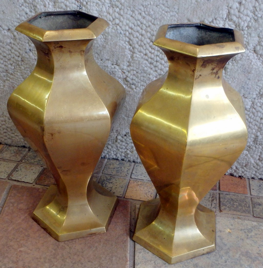 Pair of Heavy Brass Vases