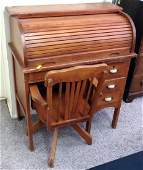 Child's Vintage Roll Top Desk with Adjustable Height