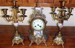 French Clock and Candlesticks Console Set