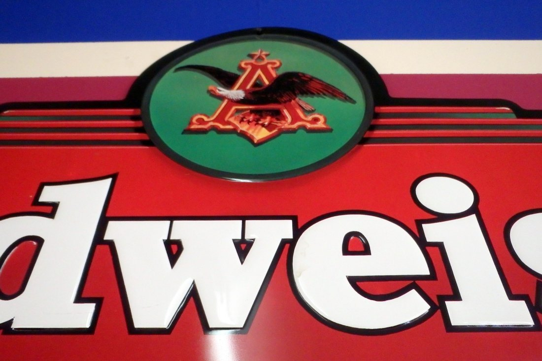 Large Metal Budweiser Sign - 3