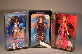 Lot Of 3 Pink Label Barbies