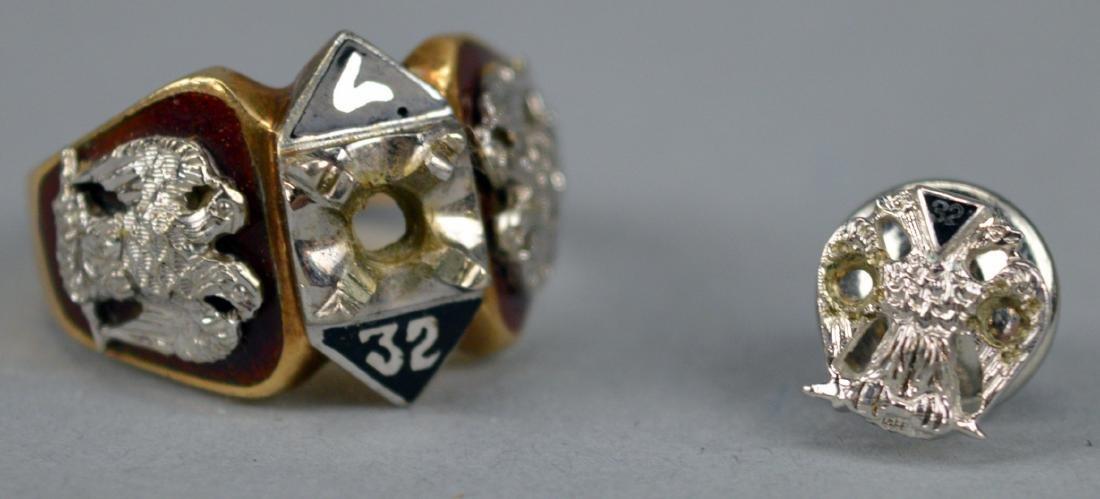10K Mason's Ring & 14K Pin