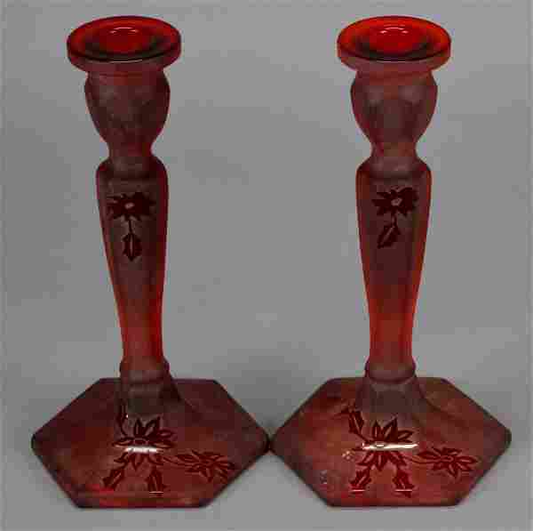 Fenton Sand Carved Ruby Candlesticks By Dave Rawson