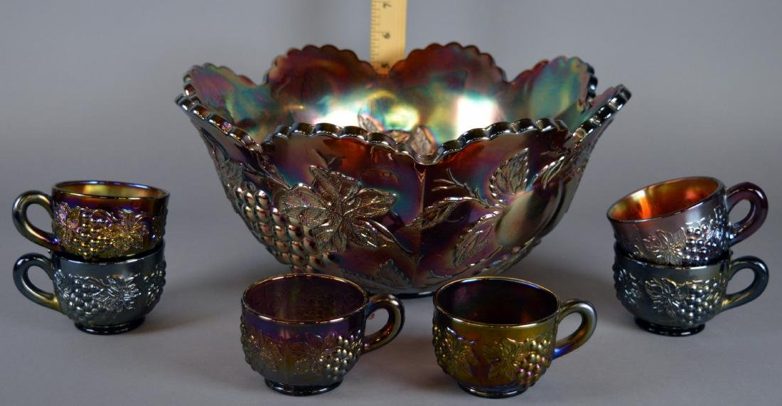 Dugan Many Fruits Carnival Punch Bowl With Cups