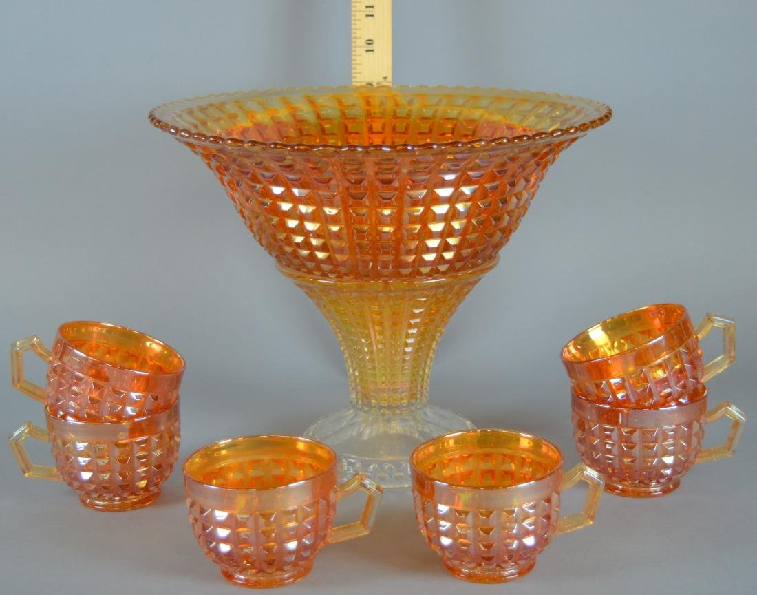 Imperial Waffle Block Carnival Punch Bowl And Cups