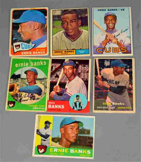 Lot of 7 Ernie Banks Baseball Cards