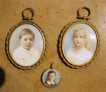 Pair of portrait miniatures on ivory, oval of boy in