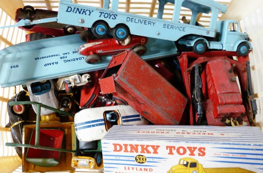 Antique teddy, various Dinky toys and other items (1 bo