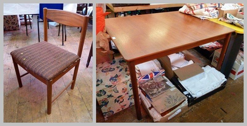 1960s A. H. MacIntosh rectangular dining table and six