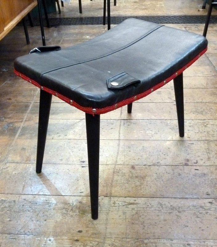Modern leather upholstered stool, leather top with